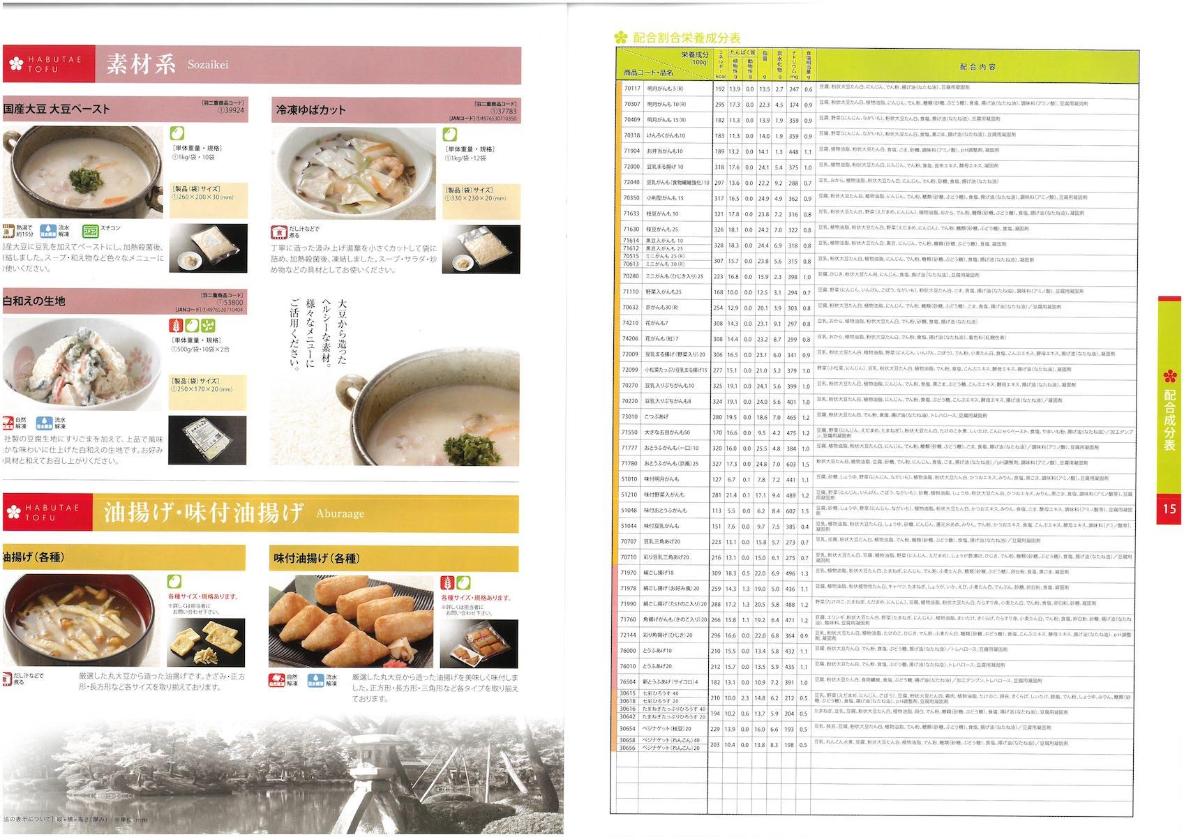 羽二重豆腐 商品総合カタログ